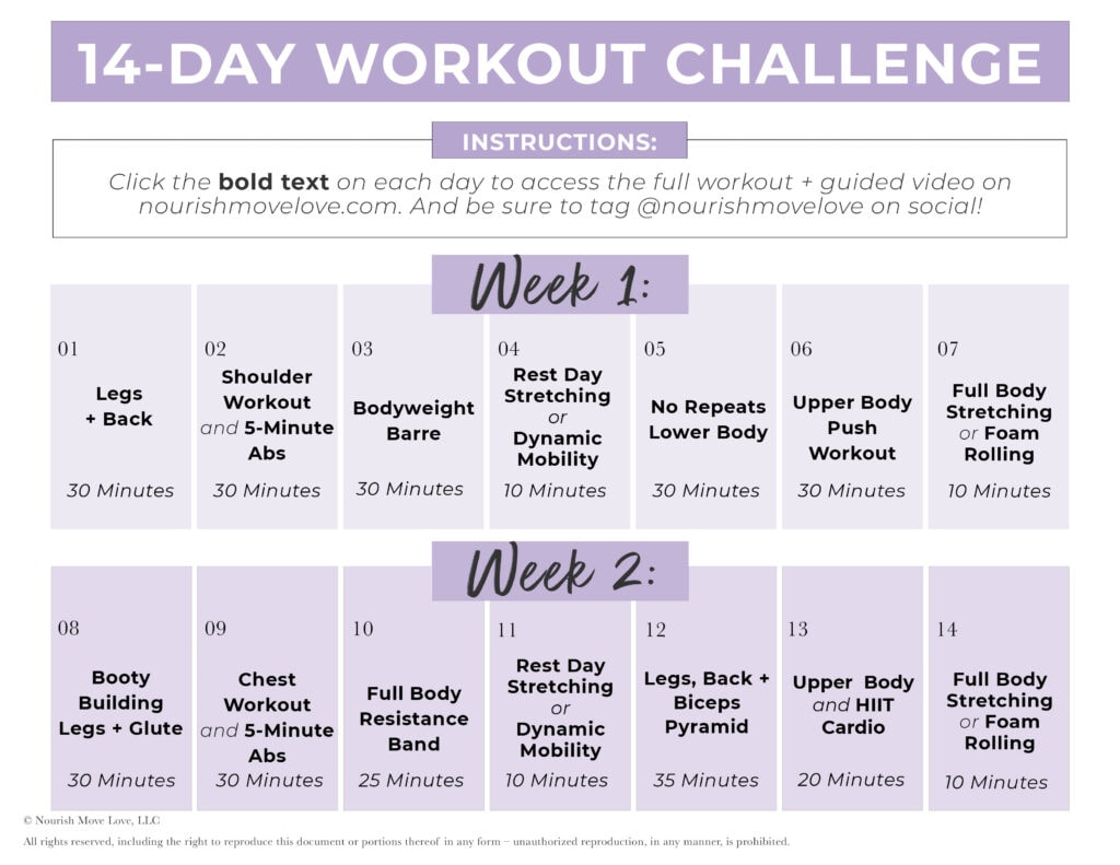 14 day challenge workout calendar with clickable links to daily workouts