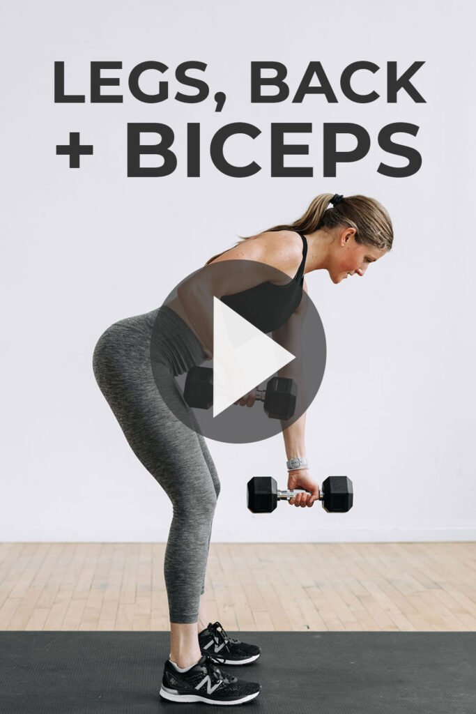 Legs, Back and Biceps Workout At Home with Dumbbells Pin for Pinterest