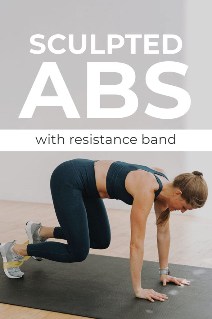 sculpted abs with resistance band pin for pinterest