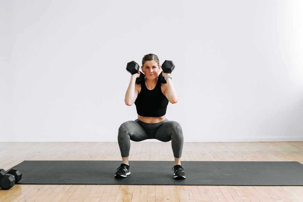 Squat with dumbbells, 30-Minute Workout At Home