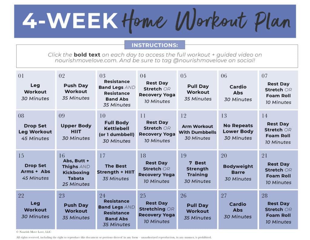 FREE Full Body Workout Plan downloadable pdf calendar