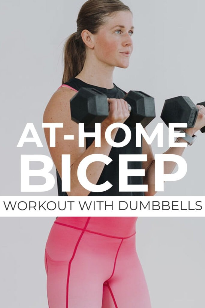 at home bicep workouts with dumbbells pin for pinterest