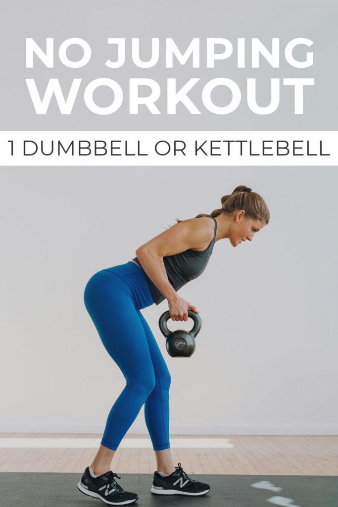 No Jumping, Full Body Kettlebell Workout pin for pinterest
