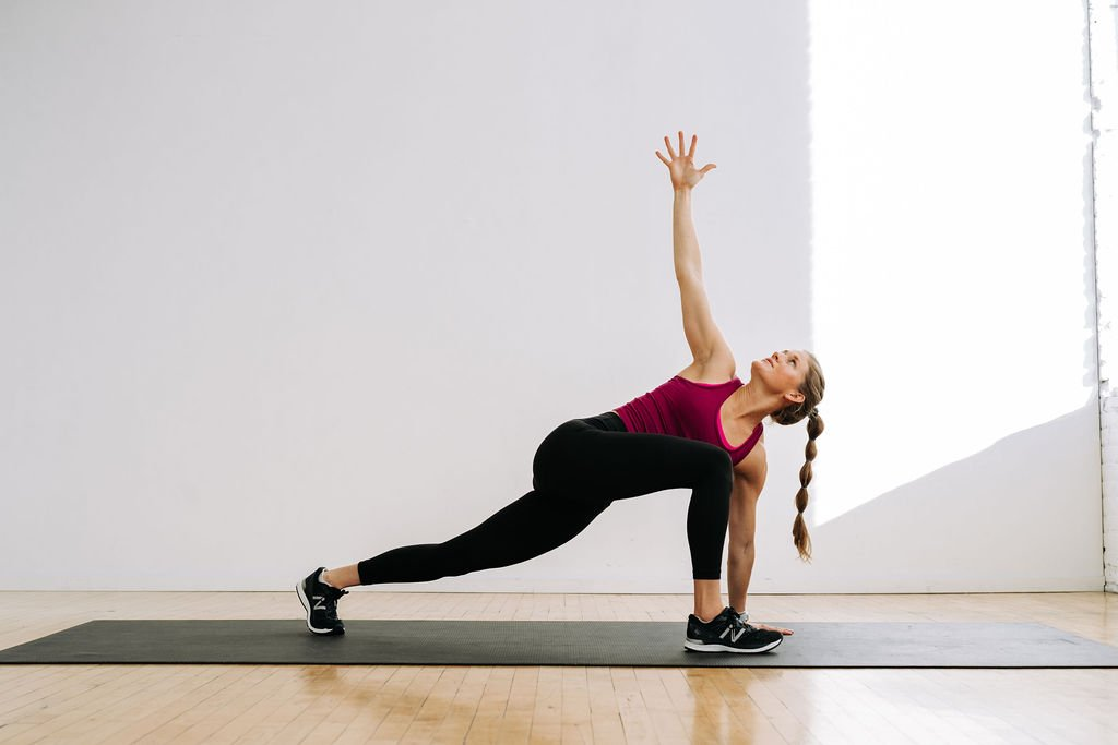 Runners lunge and twist, Hip opening yoga stretch for muscle recovery
