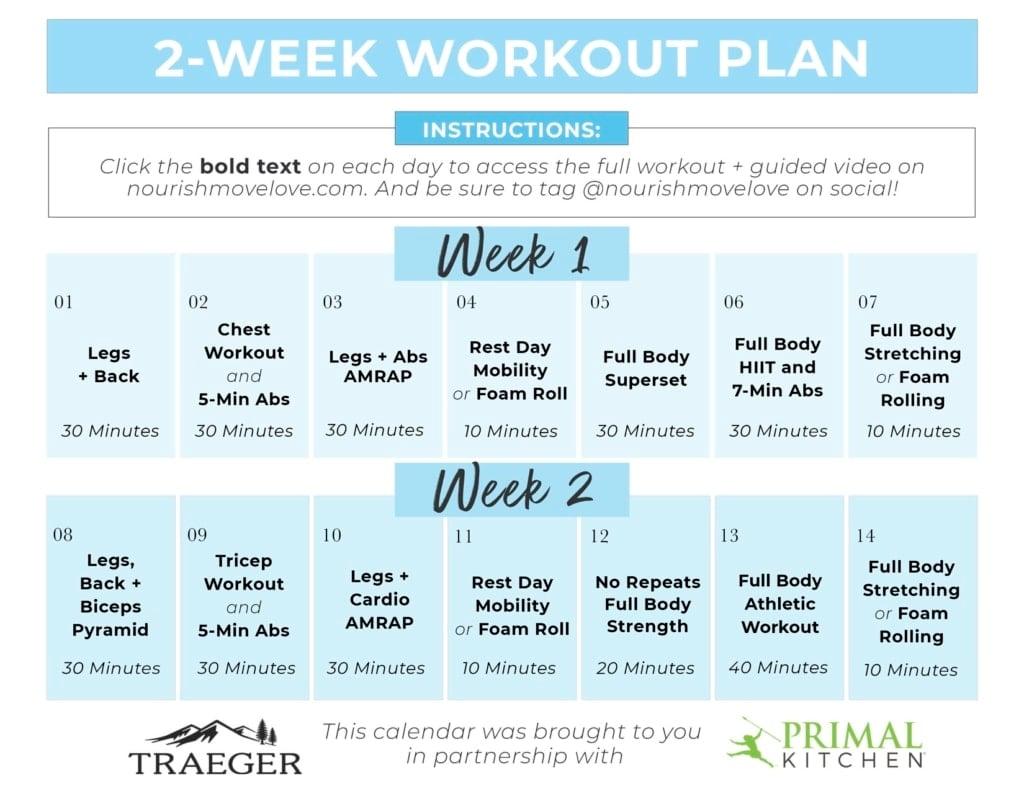 2 Week Workout Plan and Meal Plan