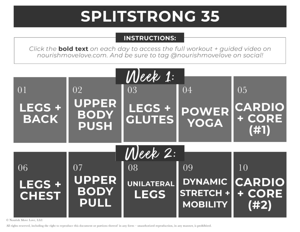 SplitStrong 35 Workout Program Calendar PDF | calendar with clickable links to daily workout videos on YouTube