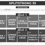 SplitStrong 35 Workout Program Calendar Graphic | calendar with clickable links to each daily workout