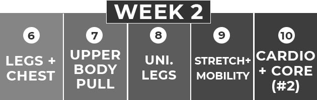 5 day workout split for women | Week Two Calendar Graphic