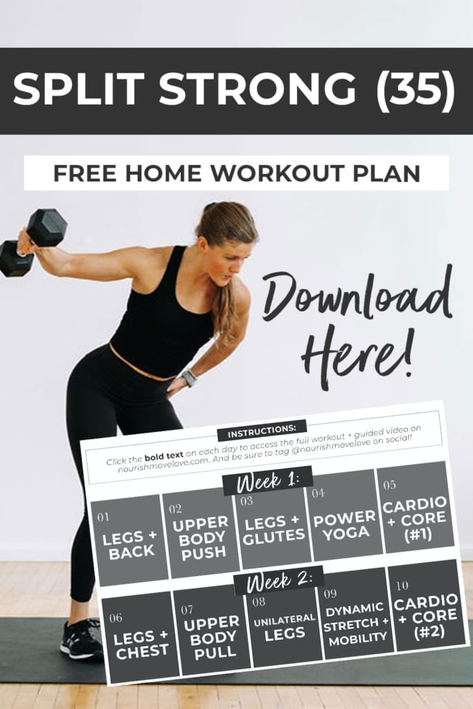 Free Home Workout Plan pinterest graphic (click to download workout challenge calendar)