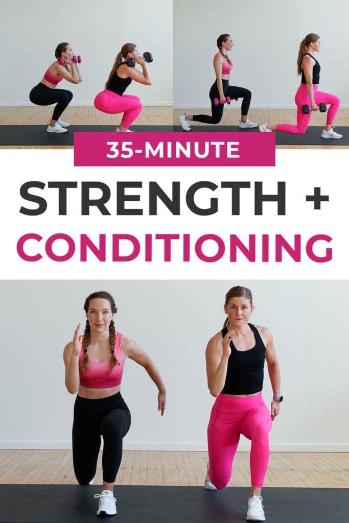 35-Minute Full Body Strength and Conditioning Workout pin for pinterest