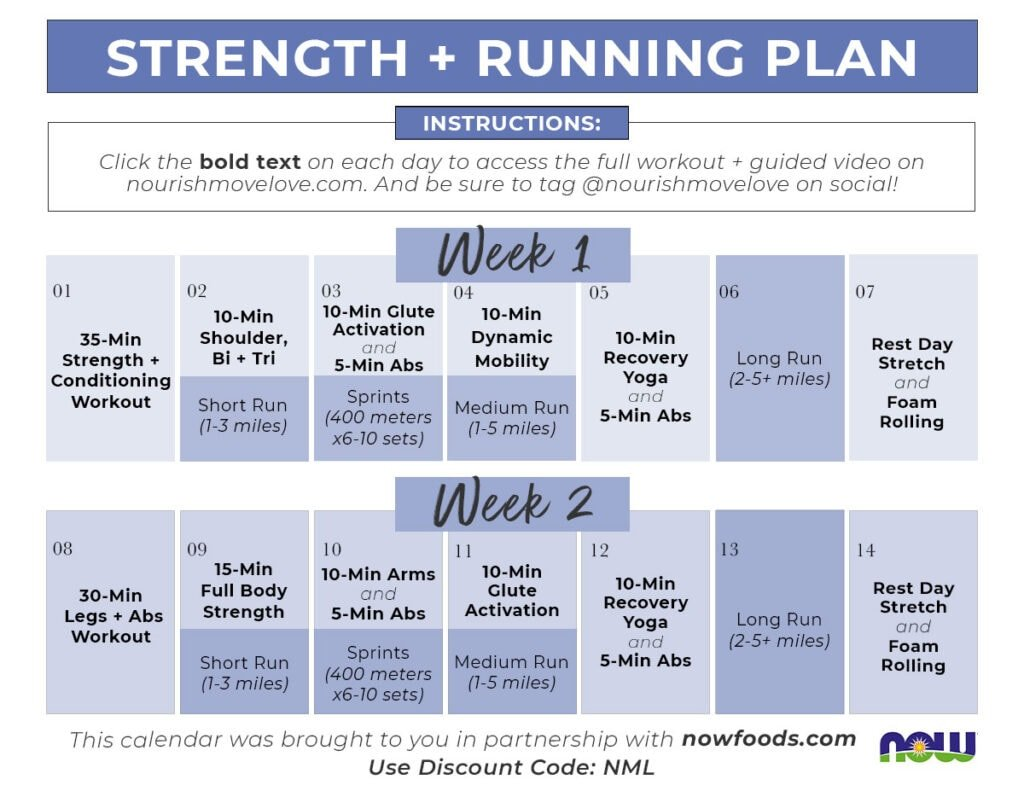 Strength Training for runners | 2 week running workout plan with strength training