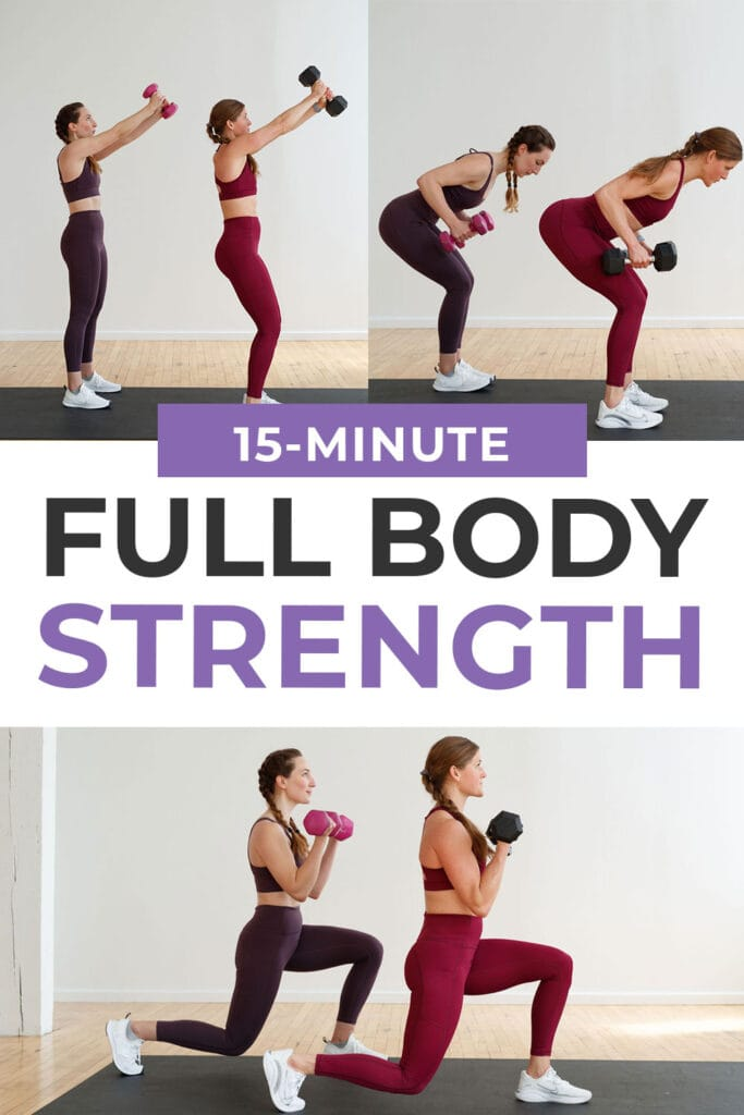 Pin for pinterest | 15-minute full body strength workout