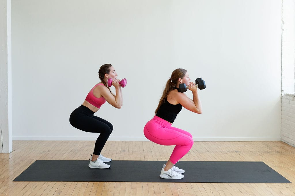 HIIT strength and conditioning workout   front rack dumbbell squat