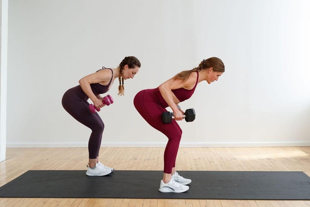 dumbbell deadlift and back row | full body strength workout