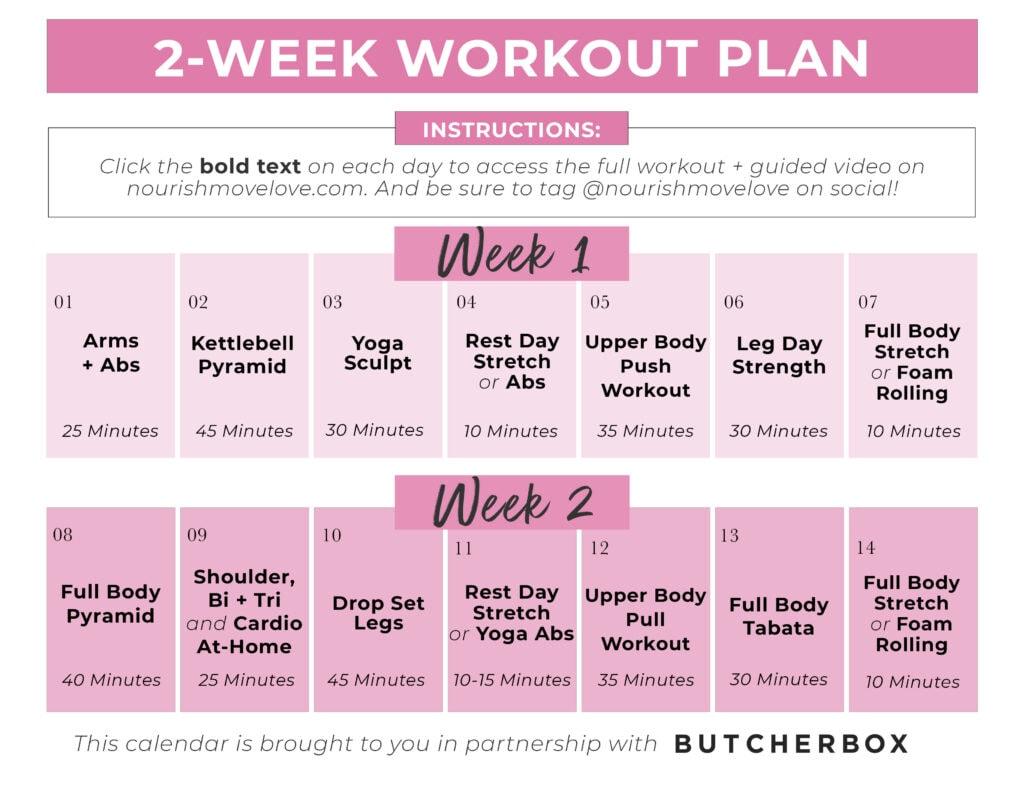 2 Week Workout Plan At Home #9 (ButcherBox)
