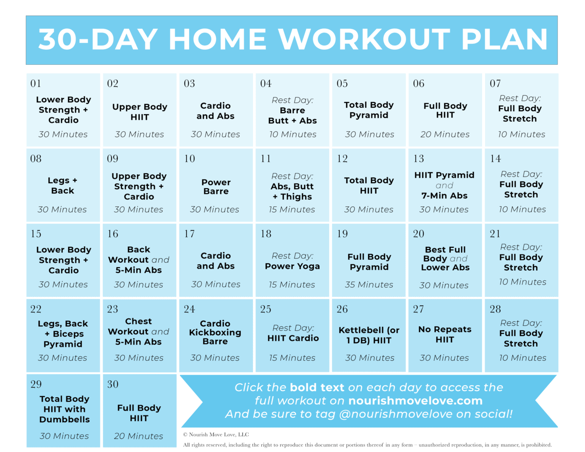 Free Home Workout Plan for women   30 day workout calendar graphic