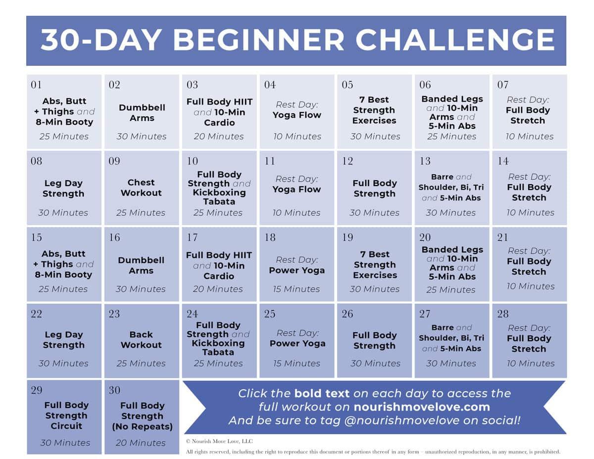 30 Day Beginner Workout Challenge   30 Day calendar graphic
