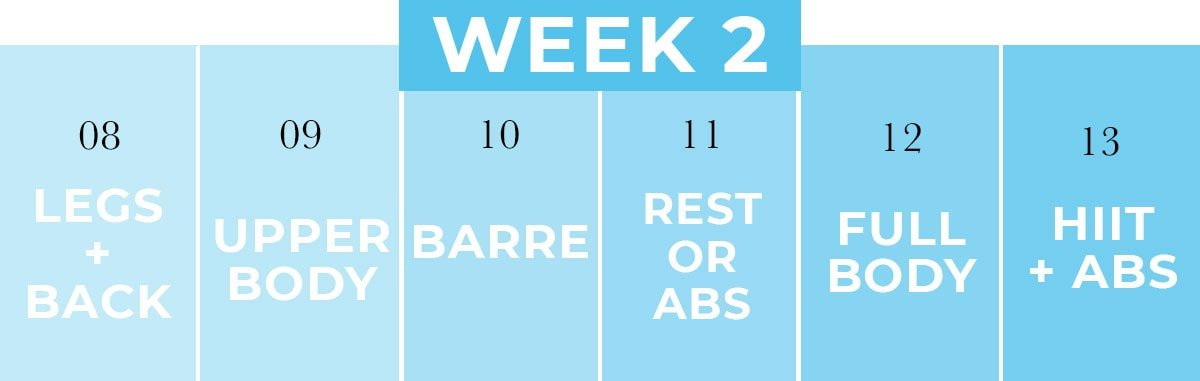 Workout Schedule At Home for Women   Week 2
