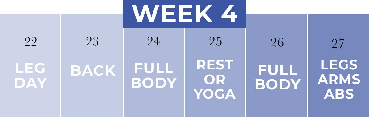 Workout Calendar for Beginners   Week 4