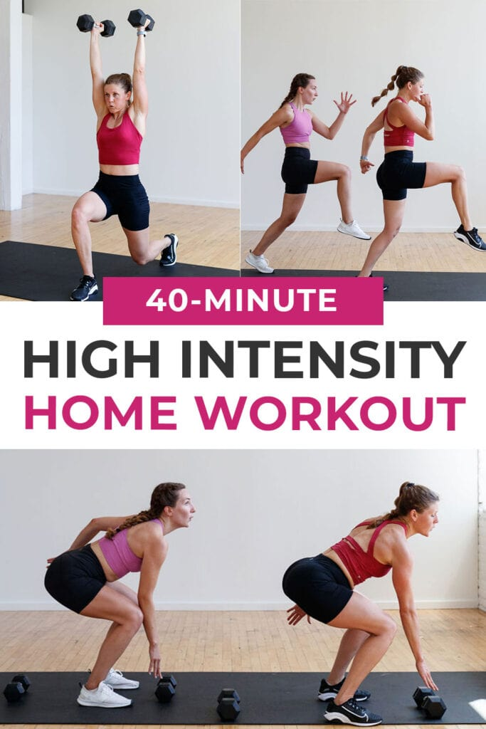 40-Minute High Intensity Workout At Home pin for pinterest