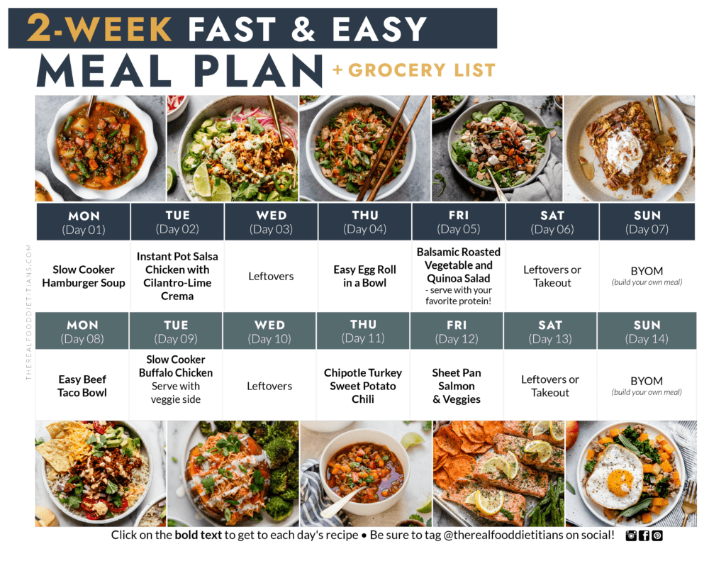 FREE, 2-Week Fast and Easy Meal Plan