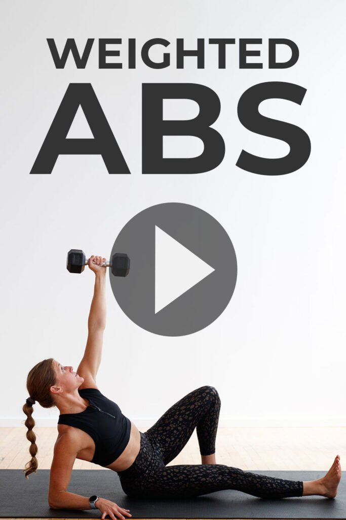 5 BEST Weighted Abs Exercises at home pin for pinterest